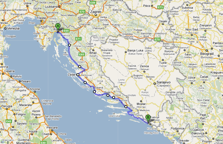Cosmo topia a review of a croatian bus route dubrovnik rijeka google maps suggested route amended by the author nb this is not the actual route gumiabroncs Gallery