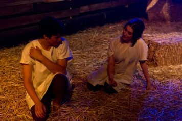 Alan (Benjamin Sheen) and Jill (Alexandra Keefe) share and intimate moment.