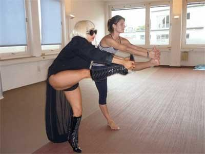 Lady Gaga unorthodox high-heeled practice of Bikram Yoga.
